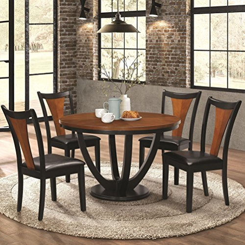 Boyer 5-Piece Round Table Dining Set Black and Amber