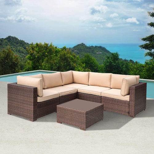 6 Piece Outdoor Patio Furniture Sets, All-Weather Wicker