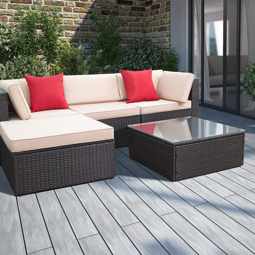 5 Pieces Patio Furniture Set Wicker Rattan