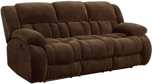 Coaster Pillow Padded Motion Recliner Sofa Chocolate