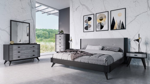 Nova Domus Panther Contemporary Grey & Black Bedroom Set