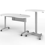 Fuzion Kidney Shaped Teacher's Desk with 3/4 Moon Podium
