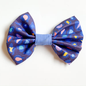 'Navy Leopard Spots' Dog Bow Tie and Fur Clip Bows