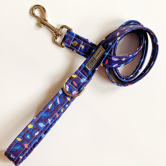 'Navy Leopard Spots' Dog Lead