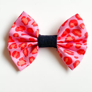 'Pink Leopard Spots' Dog Bow Tie and Fur Clip Bows