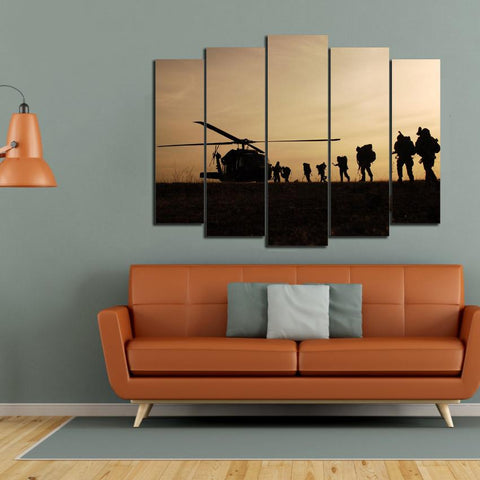 CLEARANCE SALE 5 Pieces Wall Art Home Decor Panels (Army-Military)
