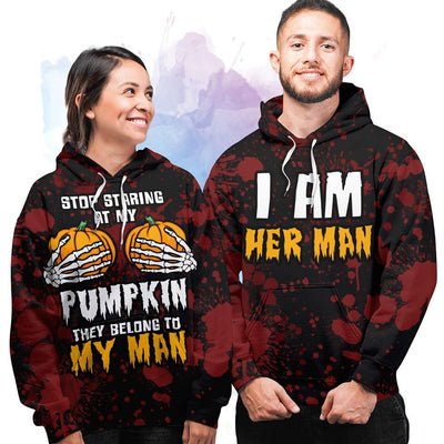 Stop Staring At My Pumpkins - Couple Hoodie
