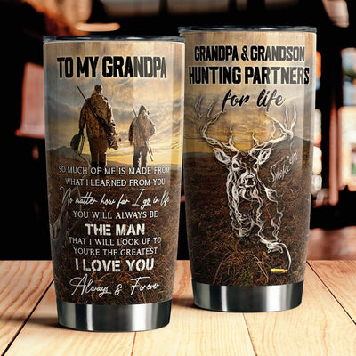 To My Grandpa - Hunting Partners For Life - Tumbler