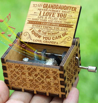 Grandpa To Granddaughter - Never Forget That I Love You - New Engraved Music Box