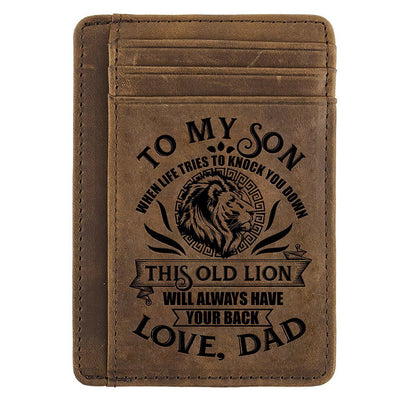 Card Wallet - Son, This Old Lion Will Always Have Your Back