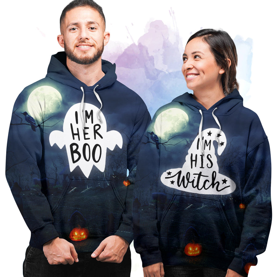 Her Boo His Witch - Couple Hoodie