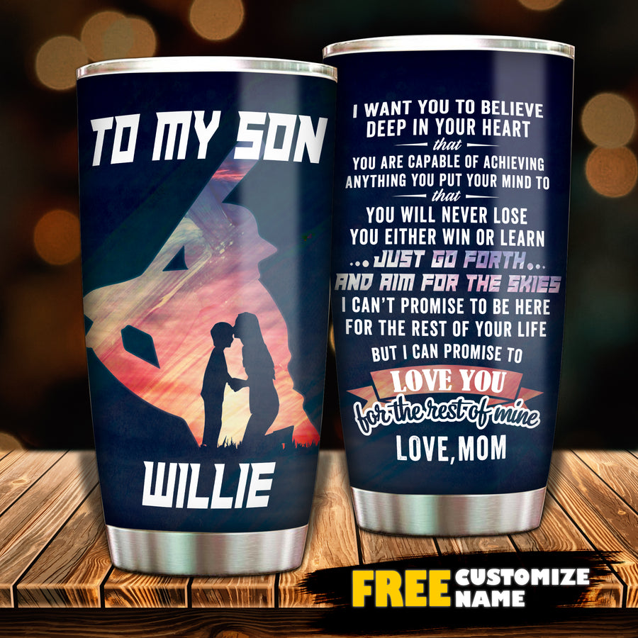 Mom To Son - Go Forth And Aim For The Skies - Personalized Tumbler