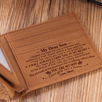 Mom To Son - I Will Always Carry You In My Heart - Bifold Wallet