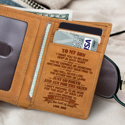 Dad to Son - Just Go Forth And Aim For The Skies - Trifold Wallet