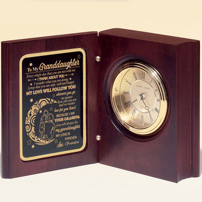 Grandpa To Granddaughter - My Love Is Forever - Wooden Book Clock