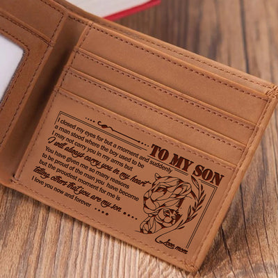Mom to Son - I Will Always Carry You In My Heart - Engraved Leather Wallet