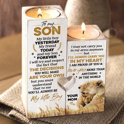 Mom To Son - And my son forever - Candle Holder Color