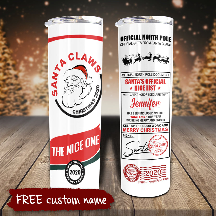 Santa Claws - Personalized Skinny Tumbler