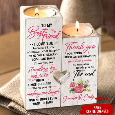 To My Bestie - Thank you for making me laugh - Personalized Candle Holder Color
