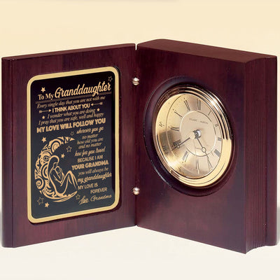 Grandma To Granddaughter - My Love Is Forever - Wooden Book Clock