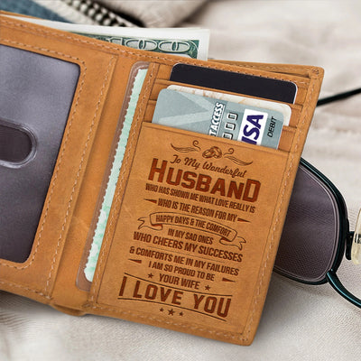 To My Husband - I Am So Proud To Be Your Wife - Trifold Wallet