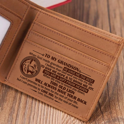 Grandma To Grandson - When God Made Grandsons, He Gave Me The Best - Bifold Wallet