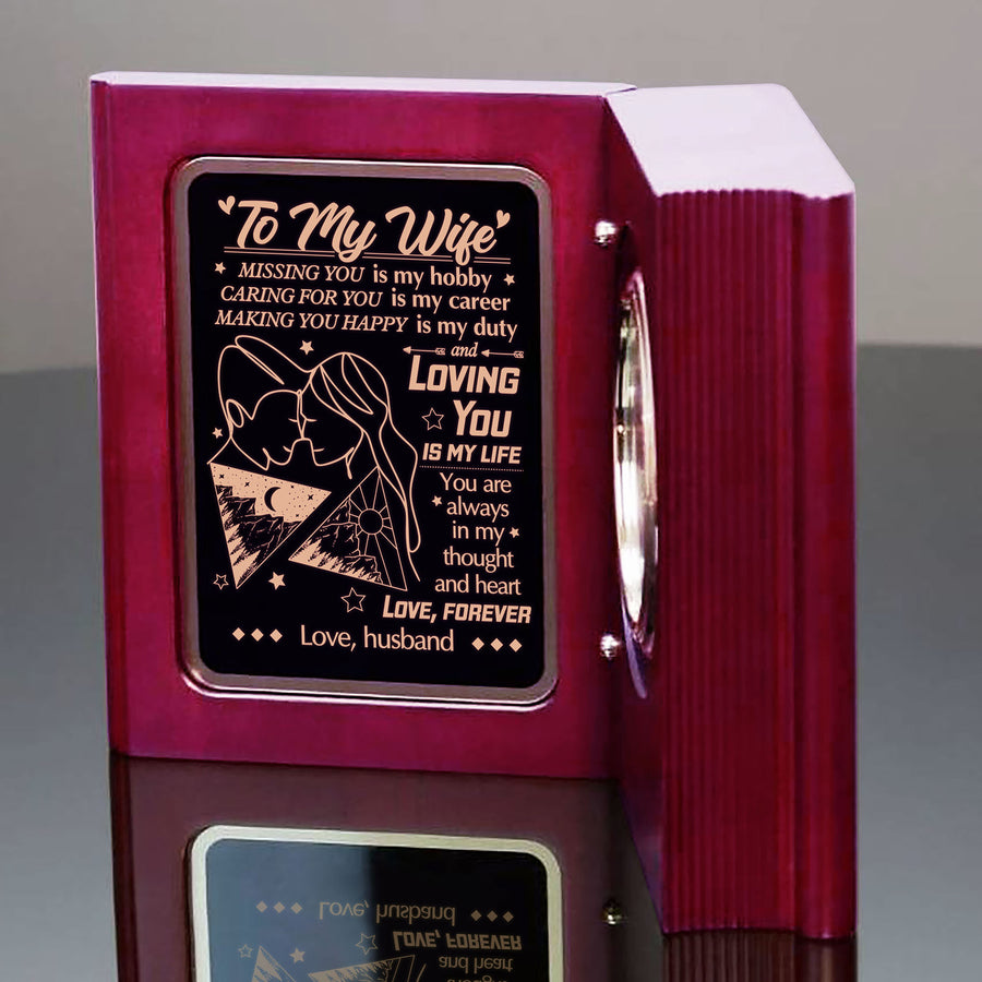 To My Wife - You Are Always In My Thought And Heart - Wooden Book Clock