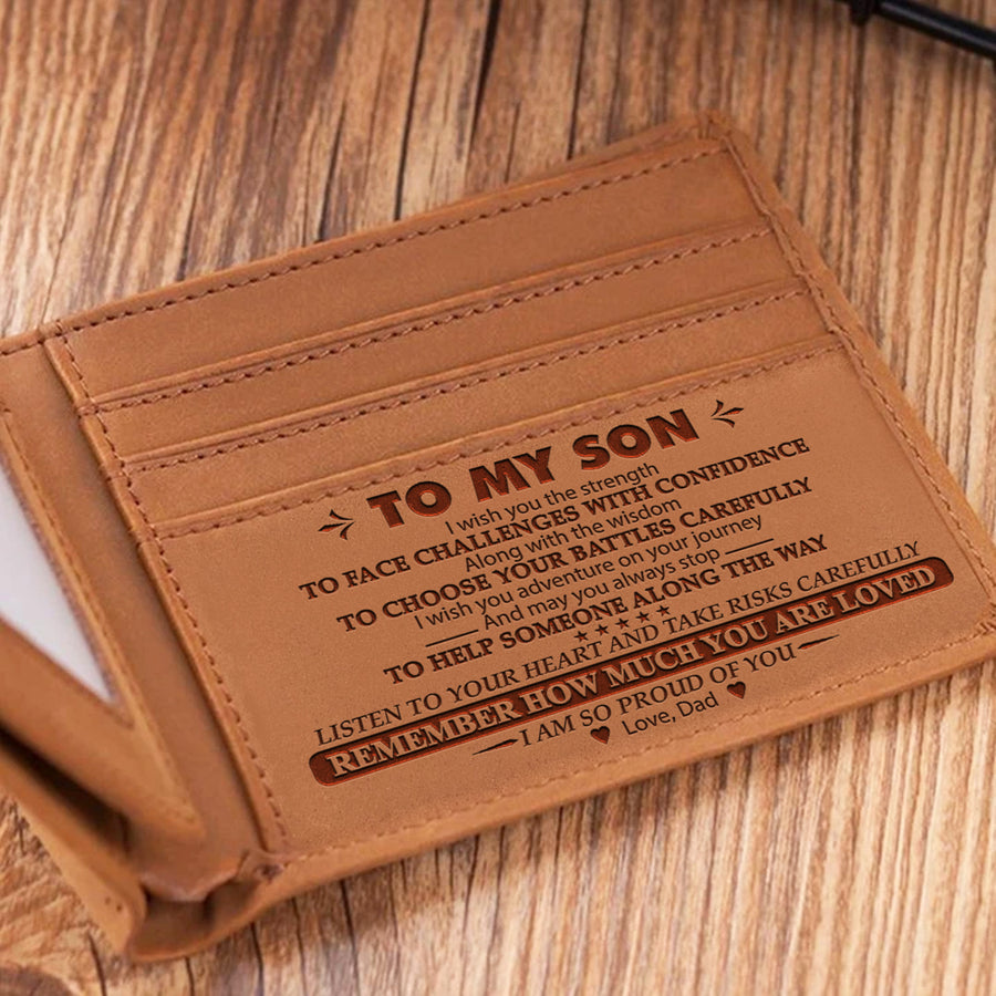 Dad To Son - Face Challenges With Confidence - Bifold Wallet