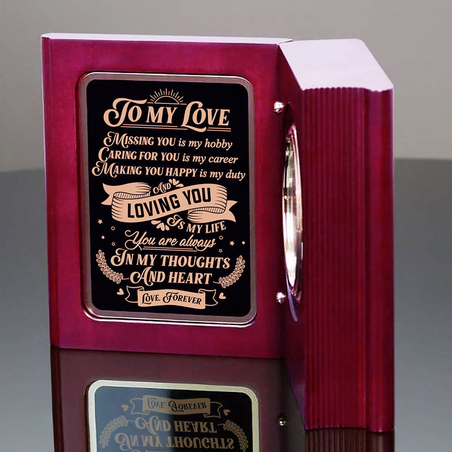To My Wife - You Are Always In My Thoughts And Heart  - Wooden Book Clock