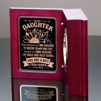 Mom To Daughter - You Are A Gift From Heaven - Wooden Book Clock