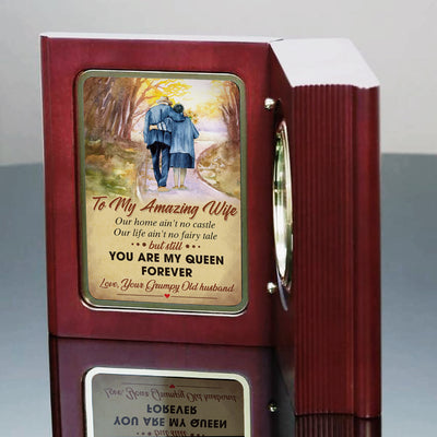Husband To Wife - You Are My Queen Forever - Wooden Book Clock