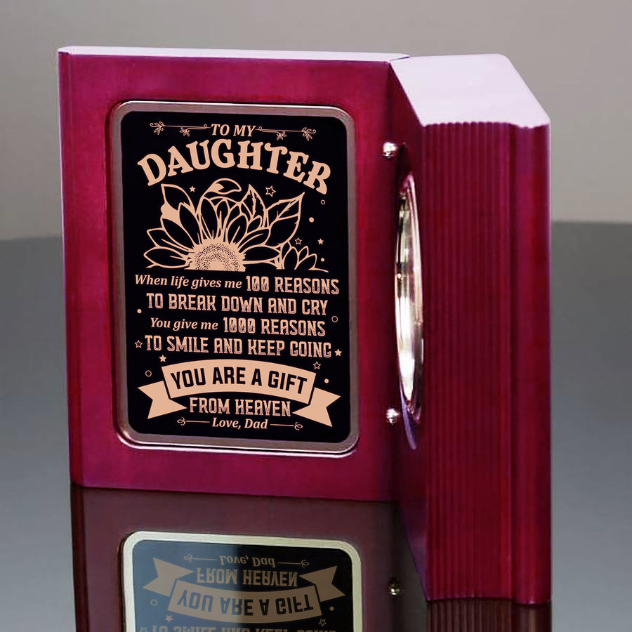 Dad To Daughter - You Are A Gift From Heaven - Wooden Book Clock
