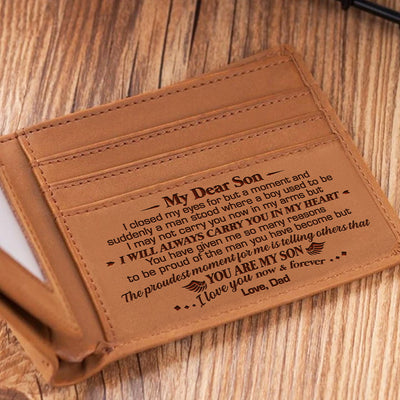 Dad To Son - I Will Always Carry You In My Heart - Bifold Wallet