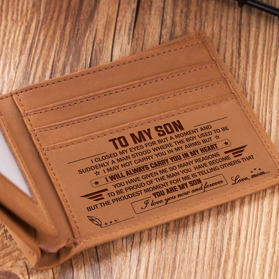 Mom to Son -  I Love You Now And Forever - Engraved Leather Wallet