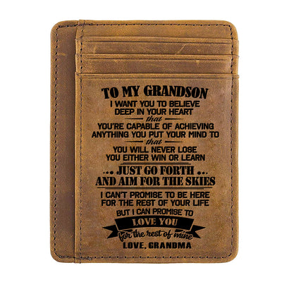 Grandma to Grandson - Just Go Forth And Aim For The Skies - Card Wallet