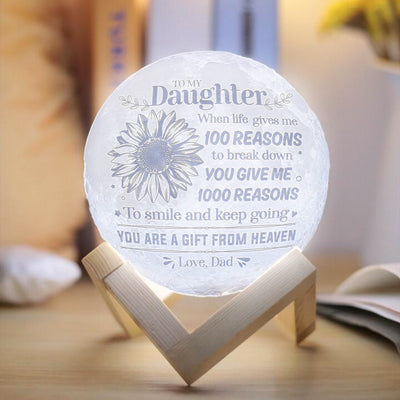 Dad To Daughter - You Are A Gift From Heaven - Moon Lamp