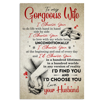 Husband To Wife - I Choose You - Vertical Matte Posters