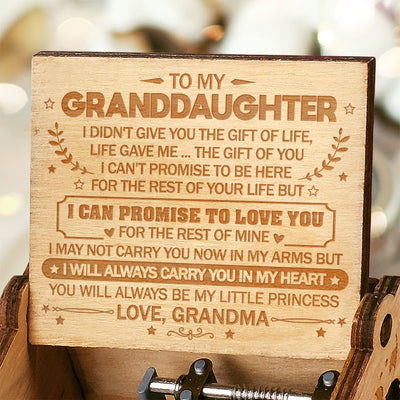 Grandma to GrandDaughter - I Will Always Carry You In My Heart - Engraved Music Box