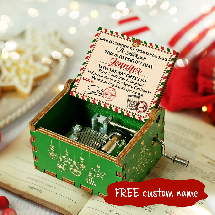 Naughty List - Personalized Music Box Color
