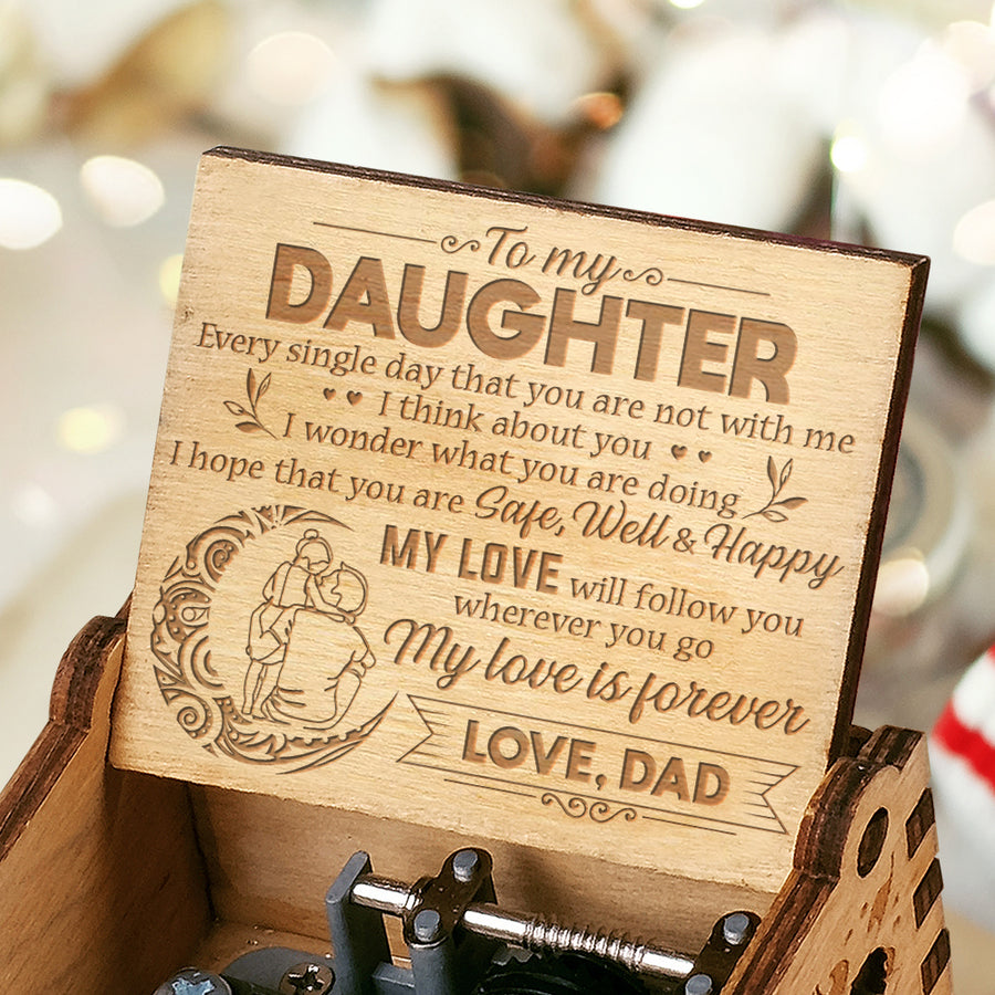 Dad To Daughter - I think about you - Engraved Music Box