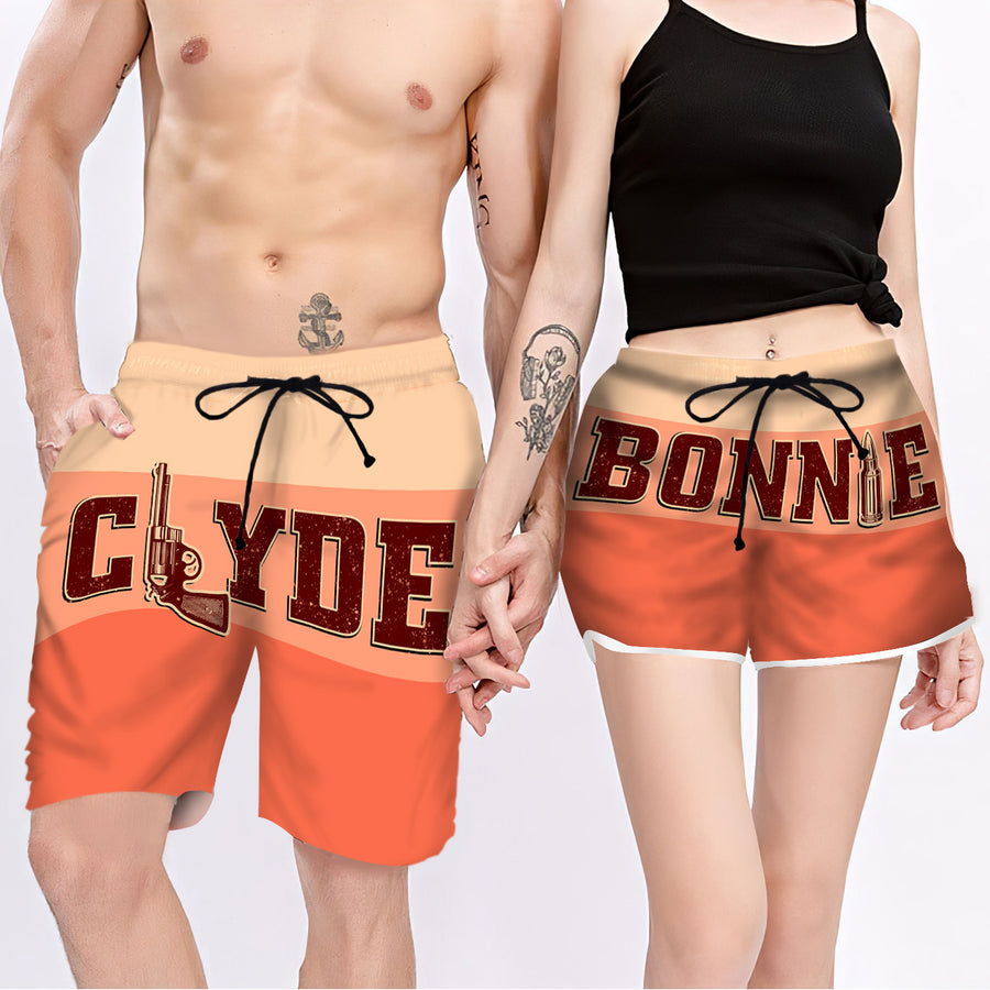 Couple Matching - Clyde & Bonnie Coral - Shorts