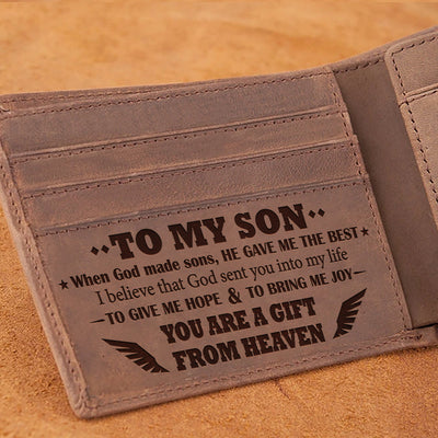 Mom To Son - You Are A Gift From Heaven - Wallet With Clipper