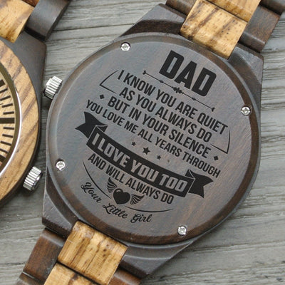 Daughter To Dad - I Love You Too - Wooden Watch