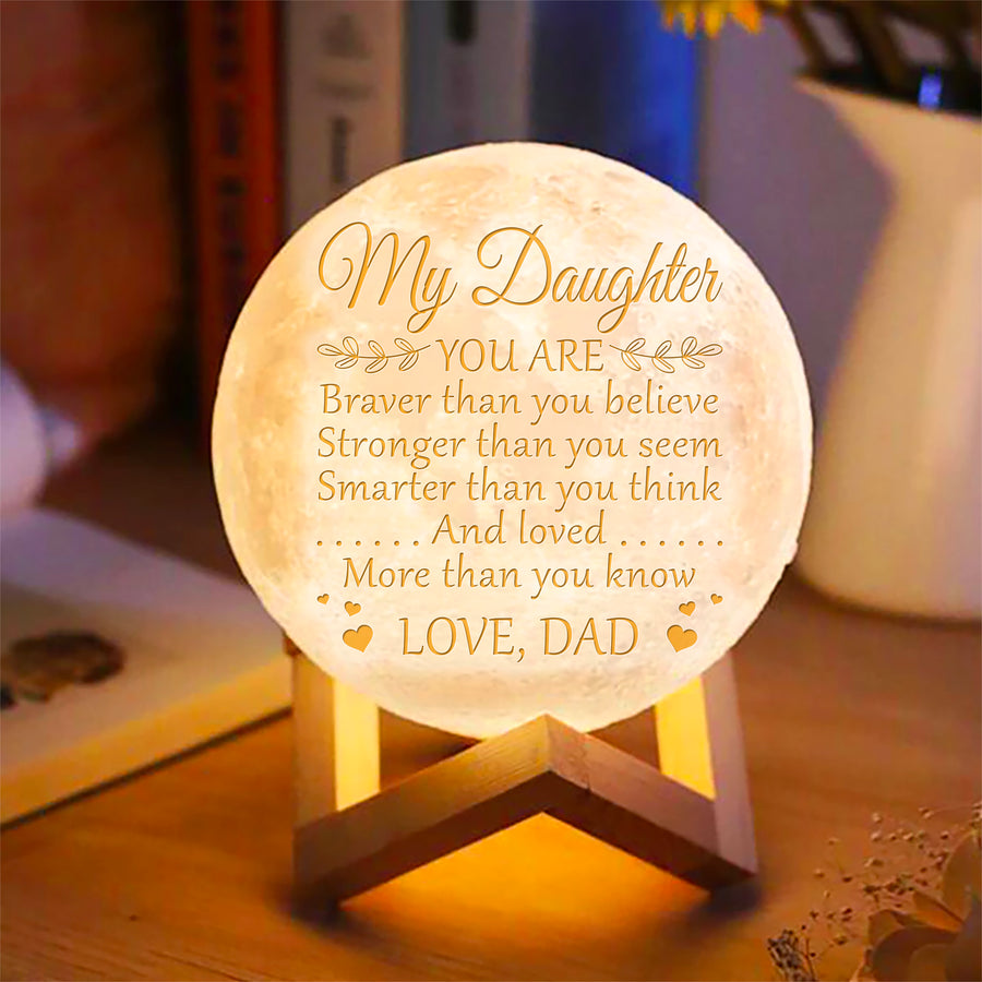 Dad Daughter - Brave & Smart Moon Lamp
