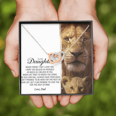 To My Daughter - This Old Lion Will Always Have Your Back - Heart Necklace