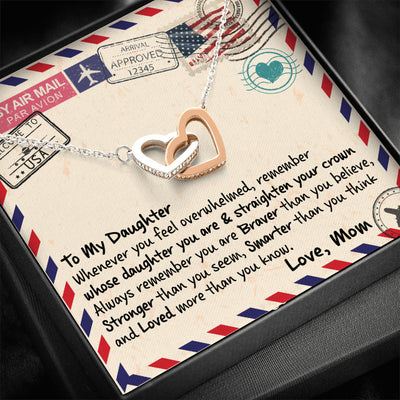 To My Daughter - Remember Whose Daughter You Are - Interlocking Heart Necklace
