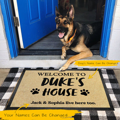 "Personalized Welcome Mat To ""Dog""'S House Pawprints Doormat - Dog Mat Custom"