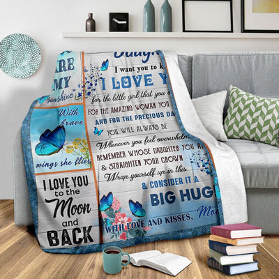 Mom To Daughter - I Love You To The Moon And Back - Blanket