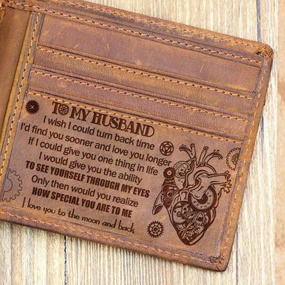 To My Husband - I Love You To The Moon And Back - Bifold Wallet