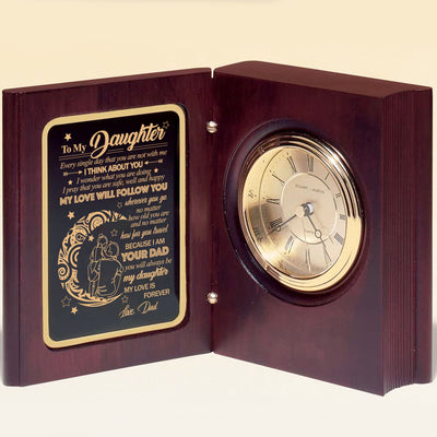 Dad To Daughter - My Love Is Forever - Wooden Book Clock